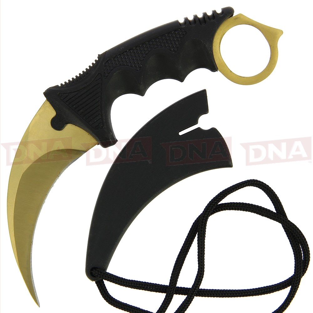 Gold Coated Fixed Blade Karambit & Sheath Main