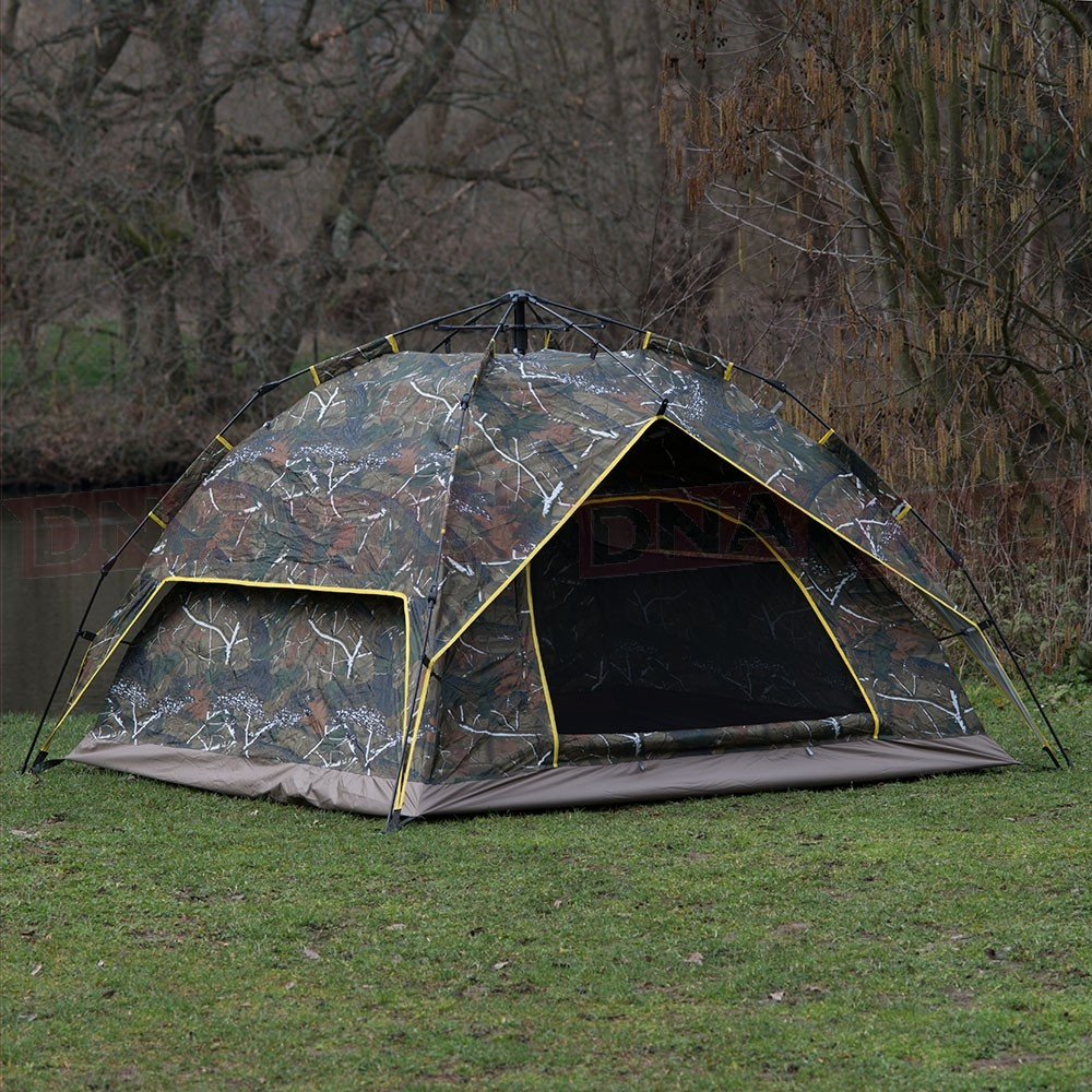 Pop Up Easy Assembly Camping / Survival Tent Camo Door Open