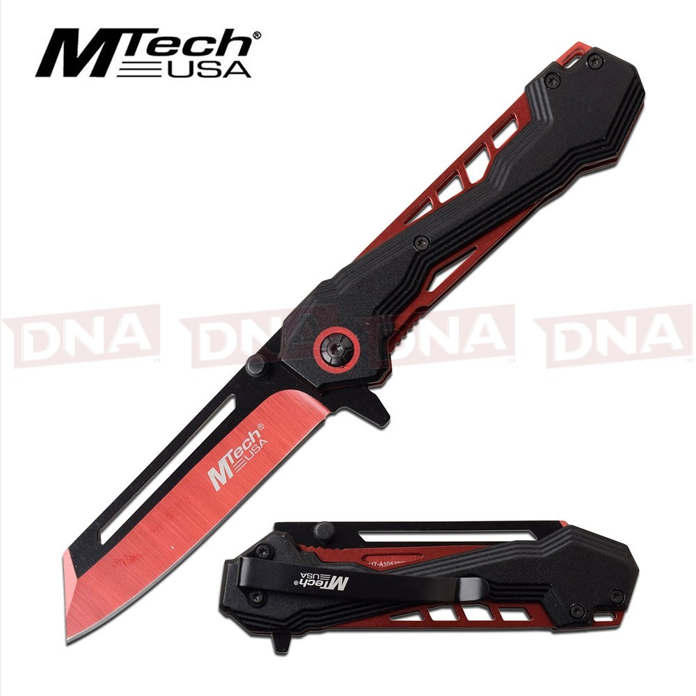 MTech Spring Assisted Extended Cleaver Knife - Red
