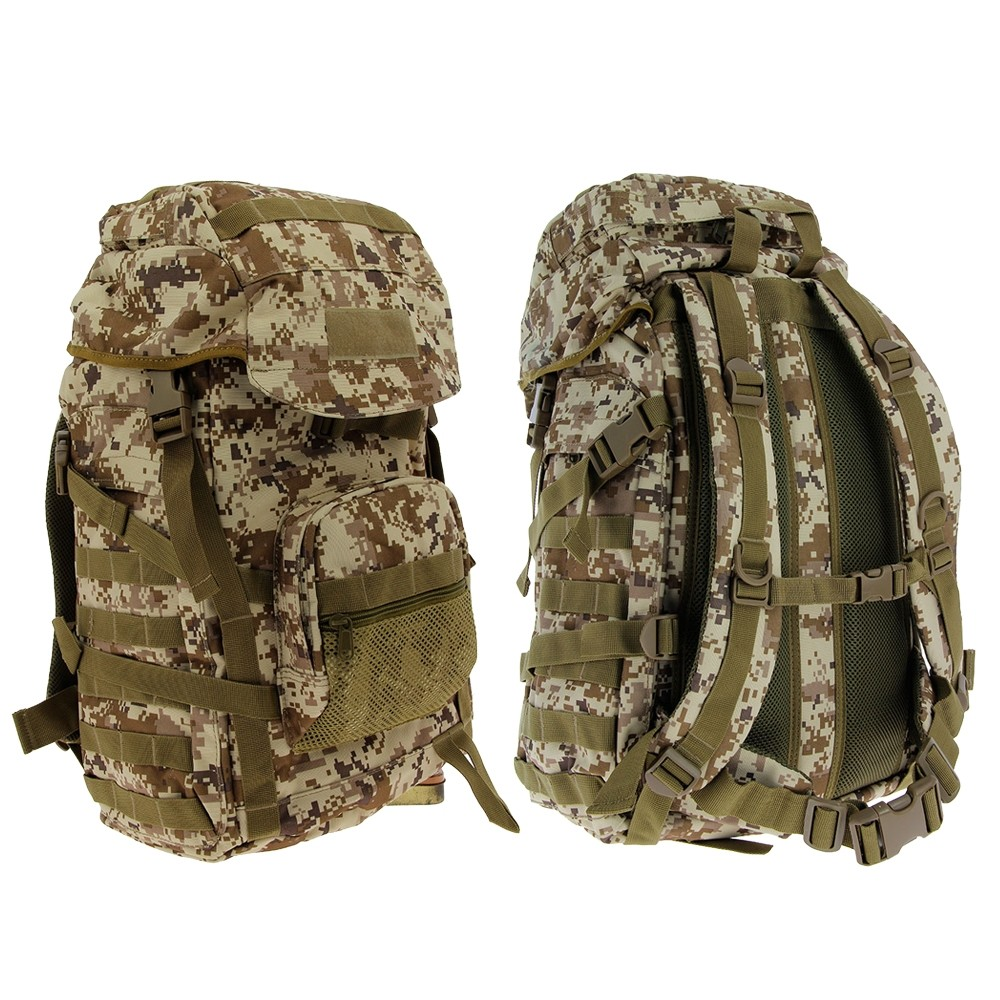 Golan™ 55L 800D Tactical Rucksack / Stuff-sack - Desert Digital Camo Front and Back