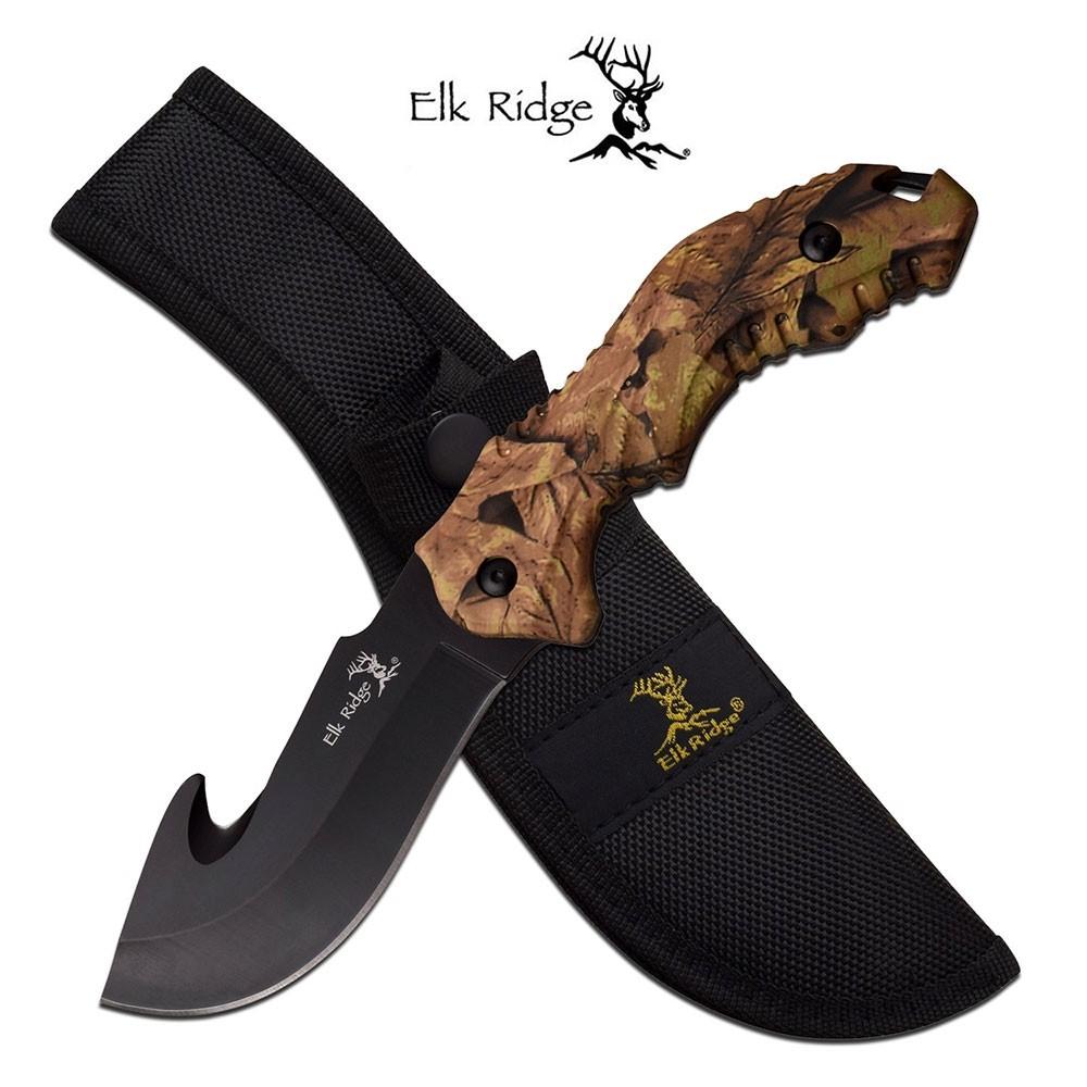 Elk Ridge Camo Gut Hook Fixed Blade