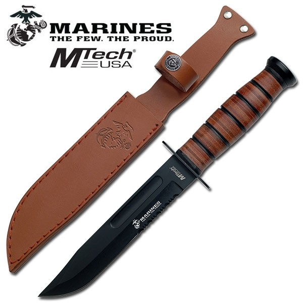 MTech Mil Spec Tactical Knife - Leather Part Serrated