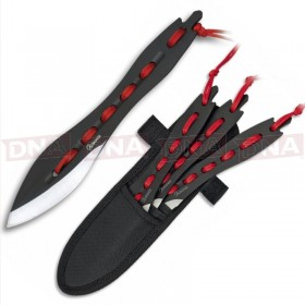 Albainox 31857 Red Laced Throwing knives x3