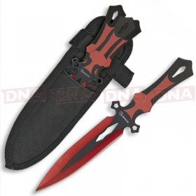 Albainox 32343 3x Black and Red Throwing Knives