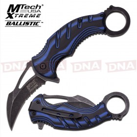 Blackwashed Spring Assisted Karambit Knife - Blue