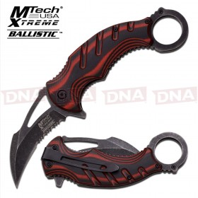 Blackwashed Spring Assisted Karambit Knife - Red
