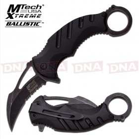 Blackwashed Spring Assisted Karambit Knife - Black