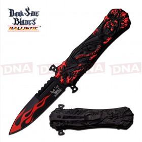 DSK Red Flamed Spring Assisted Knife