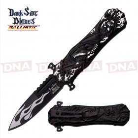 DSK Black and White Flamed Spring Assisted Knife
