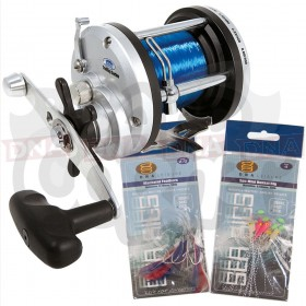 Lineaeffe JD500 Multiplier Reel with 2x Feathers