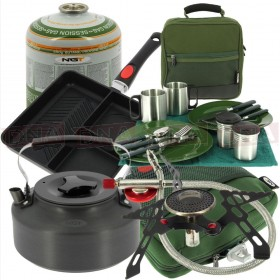 Stove Kettle & Pan Cooking Set with Cutlery