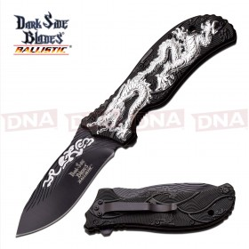 Spring Assisted Dragon Knife - Silver