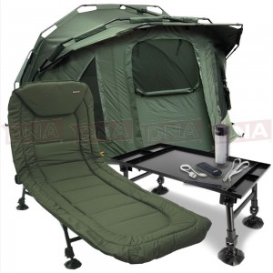 Pram Hood Bivvy with Bedchair, Table and Light