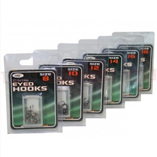 120 x Eyed Hooks  This set comes with 120 barbless Eyed hooks Ideal for all styles of coarse fishing From fishing for Roach to Carp  120 Barbless Hooks  (20 hooks in each pack)  Size 8  Size 10  Size 12  Size 14  Size 16  Size 18