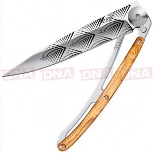 Deejo DEE1AB106 37g Tattoo Linerlock Knife Olive Wood Open