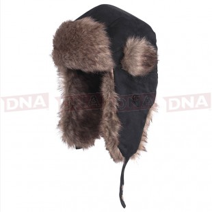 Cold Weather Faux Fur Lined Black Hat