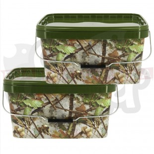2x 12.5L Square Camo Buckets with Lids