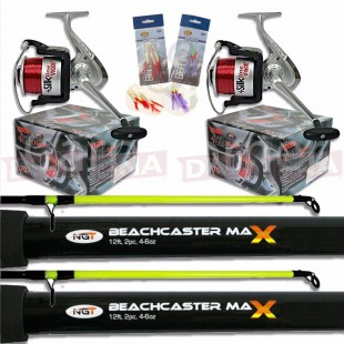 2x 2pc 12ft Beachcaster Rods with 2x Reels & 2x Feathers