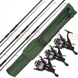 3x 12ft Carp Rods with 3x Reels and Holdall