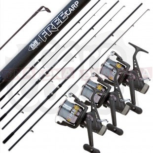 3x Lineaeffe Free Carp Rods with 3x 2+1BB Runner Reels