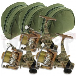 3x NGT Camo 40 Reels with Padded Cases