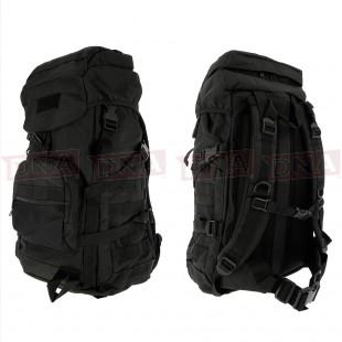 Golan™ 55L 800D Tactical Rucksack / Stuff-sack - Black Front and Back