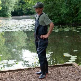 PVC Black Waterproof Chest Waders in Sizes 7 8 9 10 11 12