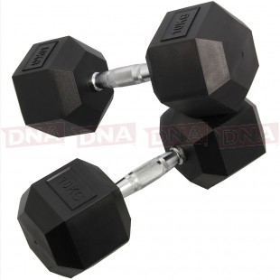 DNA Leisure 10Kg Rubber Hex Dumbbell Weights