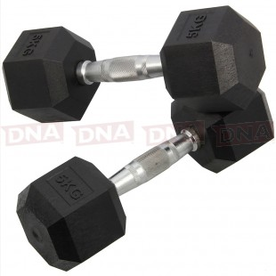 DNA Leisure 5Kg Rubber Hex Dumbbell Weights