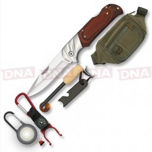 Albainox Stamina Set 39017 Pocket Knife Set with Fanny Pack Bottle Hook Flint & Keyring
