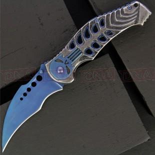 BF018030B Stainless Steel Skull Linerlock Karambit Knife | Blue