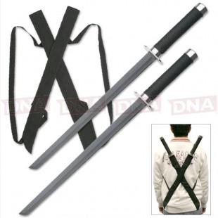 Black Twin Ninja Sword Set with Back Sheath