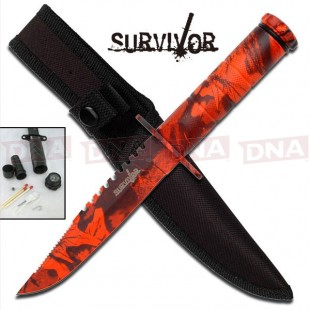 Bright Orange Camo Survival Knife