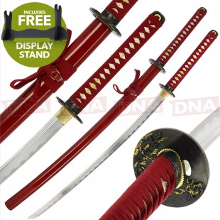 BS310162 Warriors RageHand Forged 1095 Carbon Steel Katana | Red