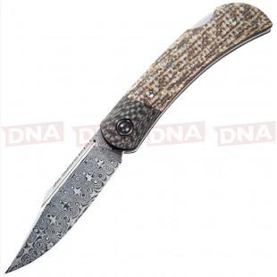 Civivi CIVC914DS2 Rustic Gent Lockback Damascus Micarta Handle Open