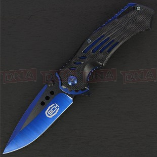 Steel Claw Knives CW-161-1 Dual Tone Blue and Black Lock Knife