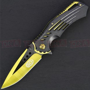 Steel Claw Knives CW-161 Dual Tone Yellow and Black Lock Knife