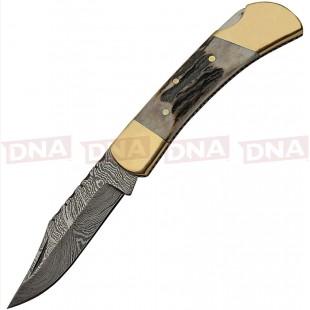 Damascus DM1257SG Stag Lockback Knife Open