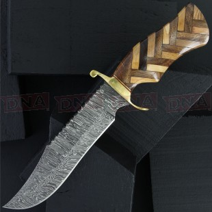 Damascus DM1221 Bowie Fixed Blade Knife - Checkered Sheath