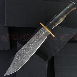 Damascus DM1195 Bowie Fixed Blade Knife with Sheath