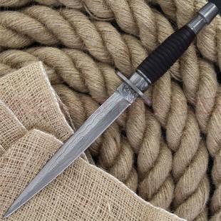 Damascus DM1262WD Double Edged Commando Dagger, Wooden Handle