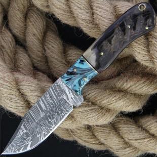Damascus DM1273 Hunter Ram's Horn Fixed Blade Knife