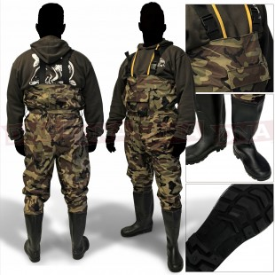 Camouflage Nylon Chest Waders Front View