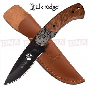 Elk Ridge Black Pakkawood Fixed Blade - Brown
