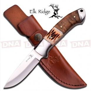 Elk Ridge ER-533 Ox Bone Burl Wood Fixed Blade Knife