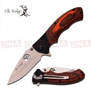 Elk Ridge ER-566SPW Wooden Flipper Lock Knife