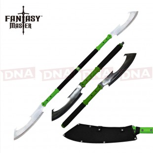 Fantasy Master Dual Cleaver Staff - Green