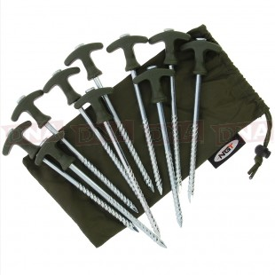 NGT Bivvy Pegs 10 x 8 inch Pegs in Case