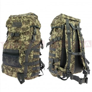 Golan™ 55L 800D Tactical Rucksack / Stuff-sack - Woodland Digicam Front and Back