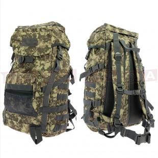 Golan™ 55L 800D Tactical Rucksack / Stuff-sack - Woodland Digicam Front and Back
